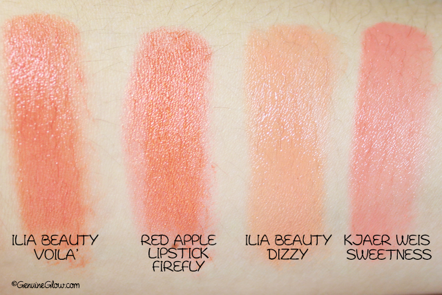 Orange Lipstick Swatches Ilia Beauty Voila Red Apple Lipstick Firefly Ilia Beauty Dizzy Kjaer Weis Sweetness