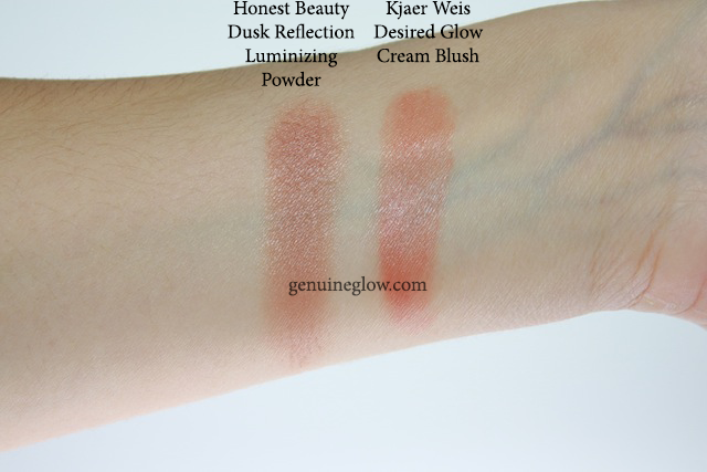 Honest Beauty Bronzer Review Kjaer Weis Desired Glow Cream Blush Swatches