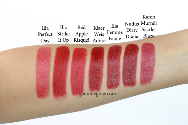 Red lipstick swatches Ilia Kjaer Weis Red Apple Lipstick Review copy