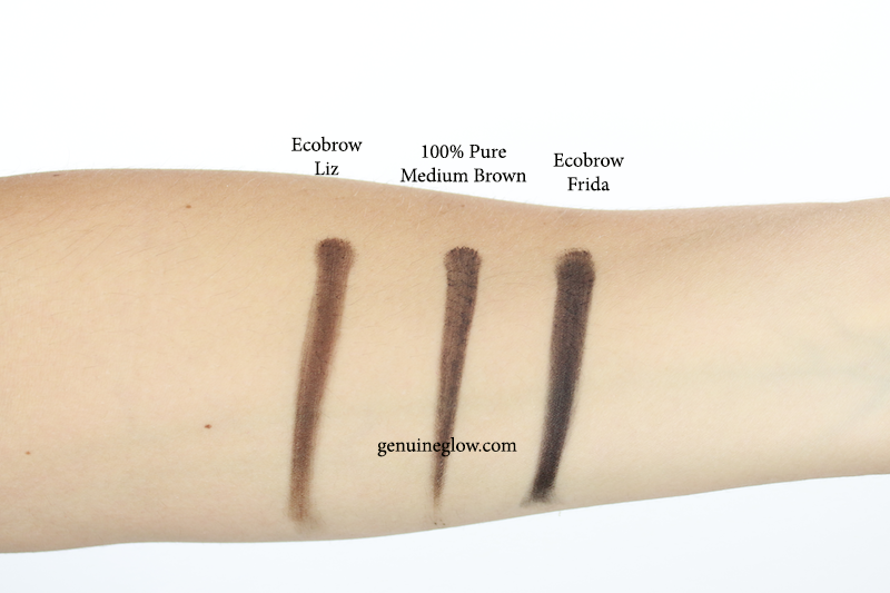 100% Pure Long Last Brows Medium Brown Ecobrow Liz Frida Swatches copy